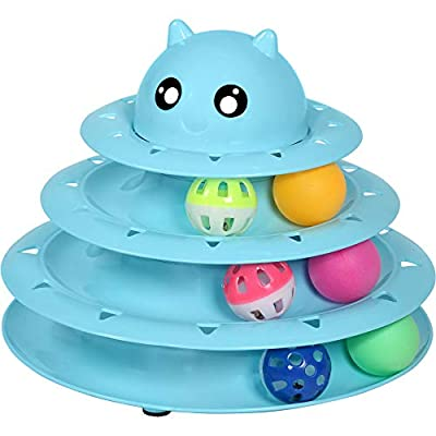 UPSKY Cat Toy Roller 3-Level Turntable Cat Toy Balls with Six Colorful Balls Interactive Kitten Fun Mental Physical Exercise Puzzle Toys. from UPSKY