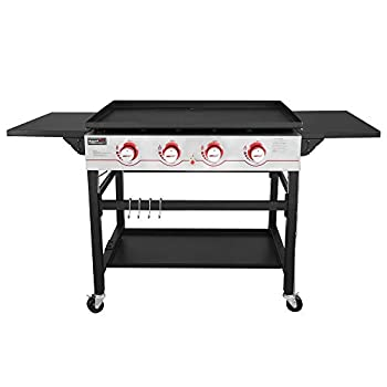 Royal Gourmet GB4000 36-inch 4-Burner Flat Top Propane Gas Grill Griddle for BBQ Camping Red
