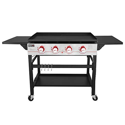 Royal Gourmet GB4000 36-inch 4-Burner Flat Top Propane Gas Grill Griddle, for BBQ, Camping, Red