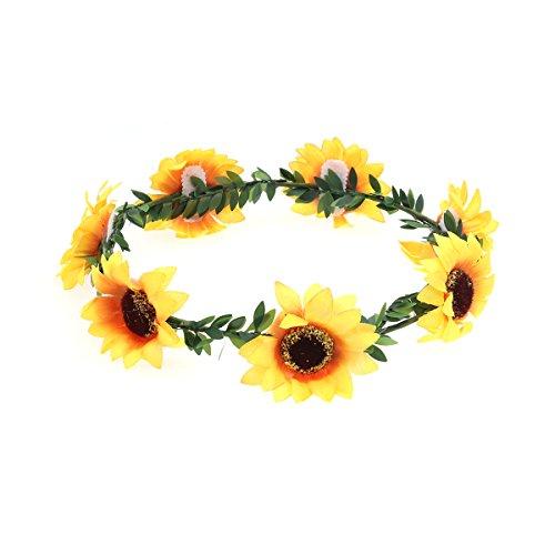 Frcolor Stirnband mit Sonnenblumen-Blumenkrone, Haarband, Haarverzierung (Girlande)