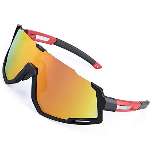 ZLUCKHY Gafas de Ciclismo Polarizadas Gafas de Sol Deportivas con Montura PC Gafas de Bicicleta para Hombres Mujeres Anti-UV400 (Color : Black)