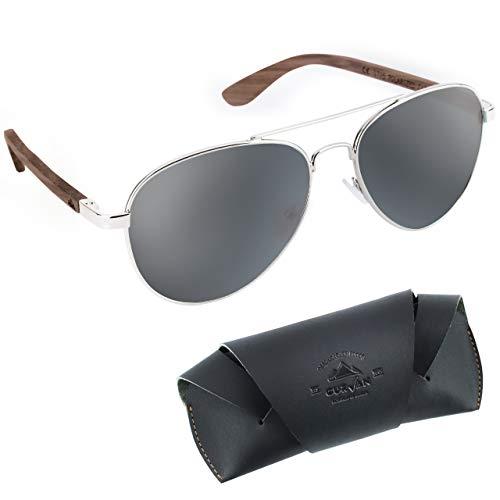 CURVAN - Gafas de Sol Polarizadas Hombre Mujer Unisex | Estilo Aviador | 100% Protección UV400 | Patillas Madera Natural Ecológica | Lente Antirreflejante Antideslumbramiento (Gris)