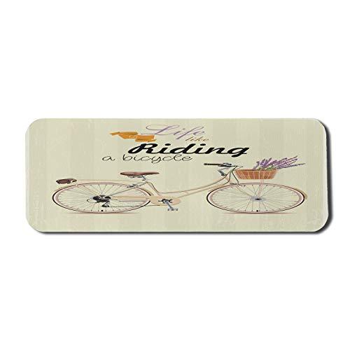 Fahrrad Computer Mouse Pad, Boho Pop Art Antike Fahrrad Illustration mit einem ästhetischen Lavendel Bouquet Korb, Rechteck rutschfeste Gummi Mousepad große beige Flieder