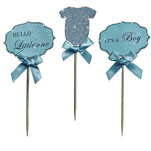 """Baby Boy Cupcake Toppers""""Its A Boy"""" &""""Hello Little One"""" & Silver Glitter BodySuit With Elegant blue Bow. A Special Baby Shower Party Decoration. (18)"""