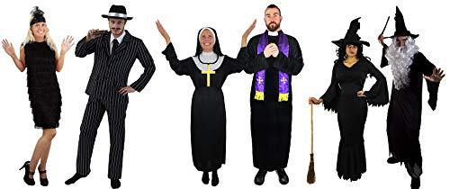 1920s PAARE KOSTÜME VERKLEIDUNG =GANGSTER PAAR ODER PRIESTER+NONNEN PAAR ODER ZAUBERER + HEXE PAAR ODER GOTIC PAAR AUS DEM HERRENHAUS = MAGISCHES PAAR=ZAUBERER-XXLARGE+HEXE-LARGE