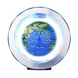 Bisofice Globo flotante de levitación magnética de 6 pulgadas Bola de tierra giratoria antigravedad Globo de mapa del mundo levitante con luz LED colorida y base en forma de O para regalo educativo