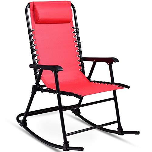 COSTWAY Schaukelliege, Schaukelstuhl Eisen, Schwingstuhl Ruhesessel, Gartenliege Relaxstuhl, Gartensessel Liegestuhl Farbewahl (Rot)