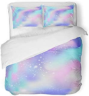 Emvency 3 Piece Duvet Cover Set Breathable Brushed Microfiber Fabric Pink Rainbow Unicorn Color Gradient Universe Blue Girlie Pastel Magic Cosmos Fun Bedding with 2 Pillow Covers Full/Queen Size