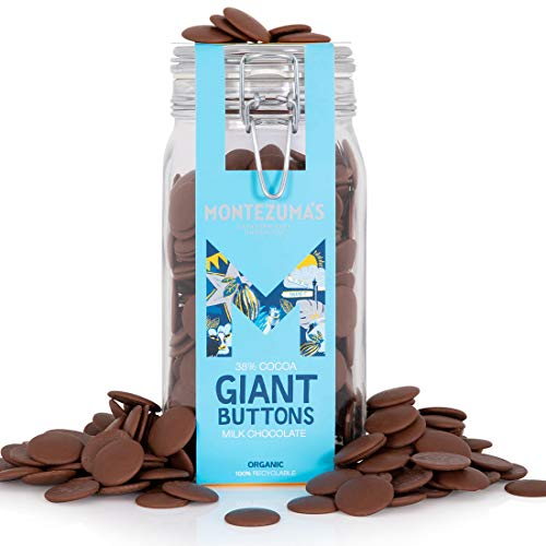 Montezuma's, 38% Cocoa Giant Milk Chocolate Buttons in Glass Kilner Jar, Gluten-free and Organic, 900g