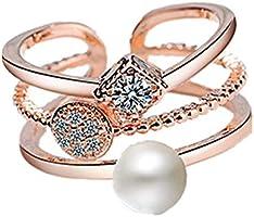 J.Rosée Swarovski Element Pearl Ring for Women Adjustable Size
