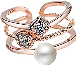 JRosee Swarovski Element Pearl Ring for Women Adjustable Size