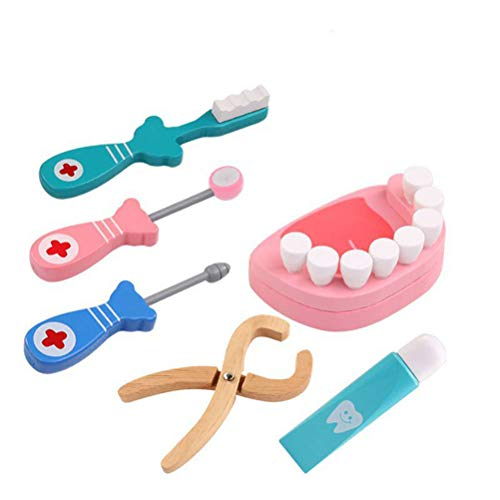 Toyvian 6pcs Kit Medico in Legno Giocattoli Dentista Set per Bambini Gioco Dottore