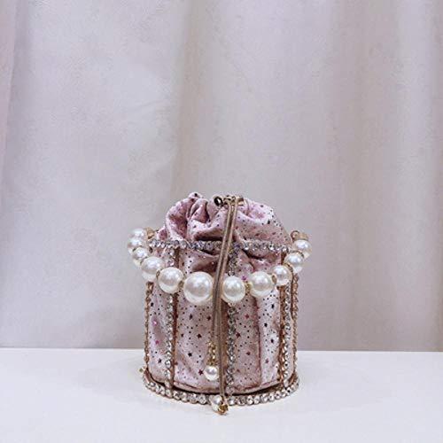 EDCV Handtassen En Portemonnees Dames Emmer Tas Etentje Avond Clutch Dames Bloemen Diamond Pearl, model 3 roze