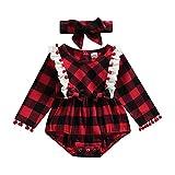 Navidad recién nacido bebé niñas mameluco volantes a cuadros mono traje de Navidad manga larga ropa, rosso, 6 mes