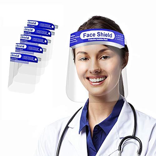 5 pezzi Visiera Paraschizzi Protettiva,Protezione Schermo Facciale trasparente, traspirante, riutilizzabile, antipolvere antiappannamento con protettiva fascia elastica