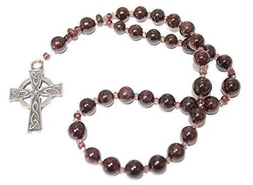 Genuine Garnets in this set of Prayer Beads, Sturdy Celtic Cross