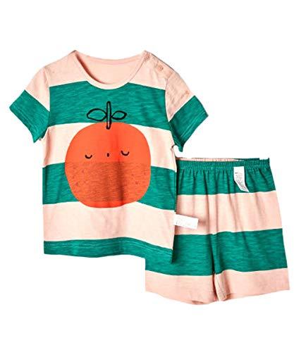 [ディアコロン]パジャマ キッズ 半袖 綿100% 夏 薄手 子供 ベビー 男の子 女の子 コットン 上下セット かわいい おしゃれ dk035 みかん 100