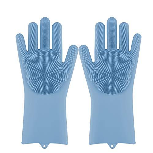 Guantes mágicos de Silicona para Lavar Platos, Estropajo, Esponja para Lavar Platos, Guantes de Goma para Fregar, Herramientas de Limpieza de Cocina, 1 par Suave-Blue