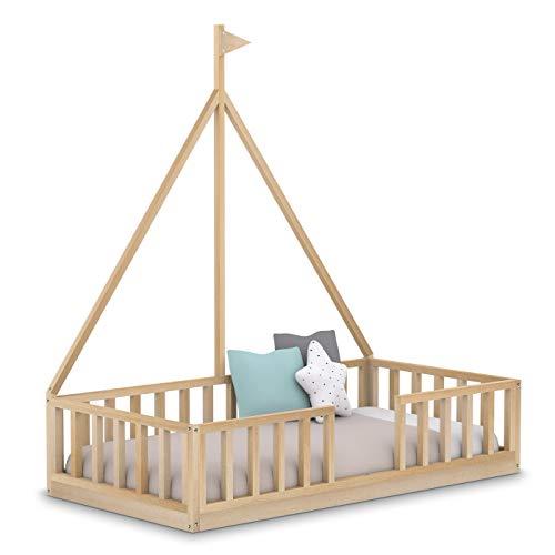 Cama Infantil Barco Tipo Montessori, con Somier y Barrera Barandilla, en Madera Natural, 90 x190 cm