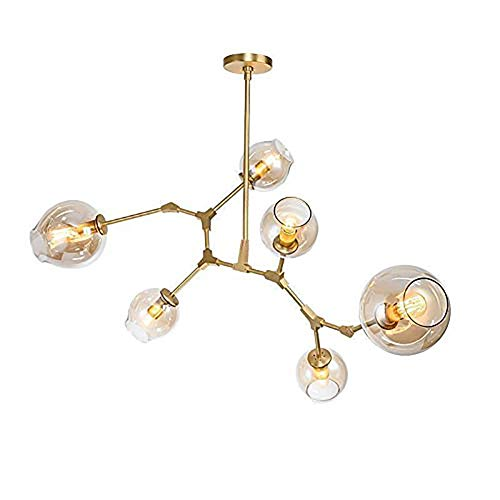 CUICAN E27 Sputnik Molécula LÁmparas, Nordic Ajustables Rama Bola Cristal Iluminación Colgante Creativo El Hierro Lámpara De Araña-Ámbar 6-luces