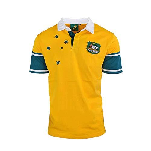 Rugby Trikot 1999 Australian Vintage Edition American Football Trikot, Unisex Sport Kurzarm Sweatshirt Fitness Atmungsaktive Stickerei Wiederholbare Reinigung Yellow-L