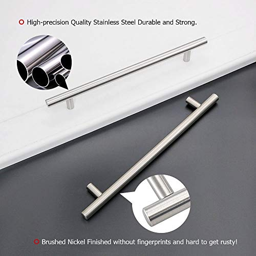 homdiy (20 Pack) Modern Cabinet Pulls Bruhsed Nickel Drawer Pulls - HD201SN Cabinet Door Handles Stainless Steel Tube T Bar Drawer Pulls for Drawers, Kitchen Cabinets, 8in Hole Centers