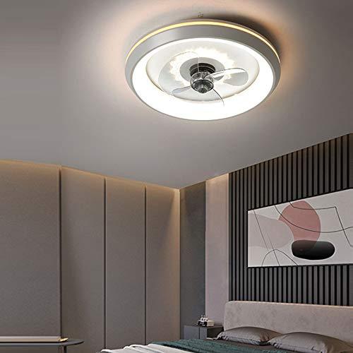 AKEFG Ventilador de iluminación Luz LED, Control Remoto Regulable Ventilador de 3 Archivos Velocidad de Viento Ajustable, Acrílico Invisible Dormitorio Sala