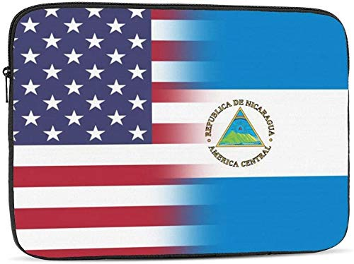 American Nebraska State Flag Laptop Sleeve Bag Compatible with 10-17 Inch Fashion Computer Bag Laptop Case-American Nicaragua Flag,12inch