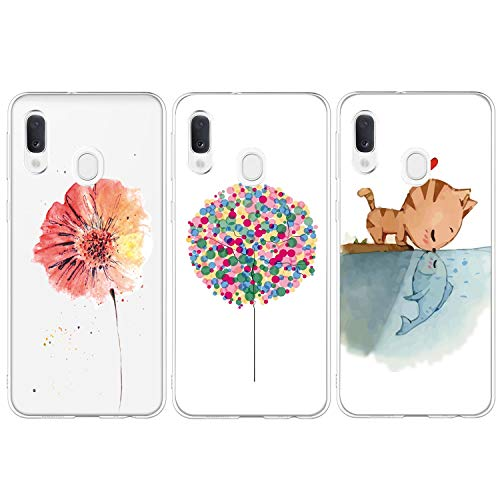 iAdvantec 3 x Funda para Samsung Galaxy A20e, [Transparente Silicona Cover] Carcasa Absorcion de Choque Cojín de Esquina, Ultra Slim Protectora TPU de telefono, Globos de Colores