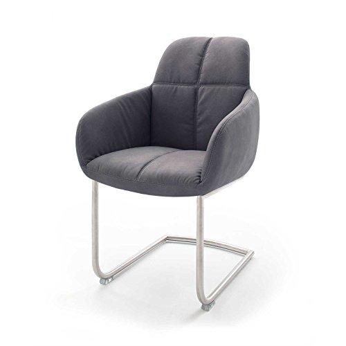 MÖBEL IDEAL Stuhl Tessera 2er Set Armlehnstuhl in Grau Braun Polsterstuhl mit Kufengestell oder Freischwinger Schwingstuhl