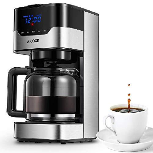 Aicook Macchina Caffè, Macchina per Caffè Americano Programmabile con Indicatore LED Pulsanti Touch, Intensità dell\'Aroma Regolabile e Controllo Te