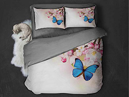 Toopeek Modern Extra large quilt cover Blue Butterfly on Spring Cherry Blossoms Japanese Flower White Pink Orchard Nature Can be used as a quilt cover-lightweight (King) Blue Pastel Pink