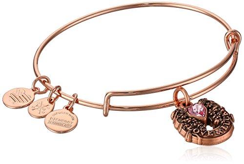 Alex and Ani Women's Fortune's Favor Rose Gold Charm Bangle Bracelet, Expandable