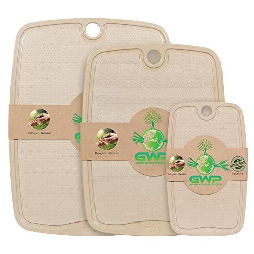 Green World Production I 100% Biologische Schneidebretter mit Saftrille Antibakterielle Küchenbretter Schneidbretter Hackbretter Brotschneidebretter Servierbretter mit rutschfesten Füßen. (3er Set)