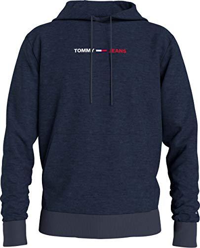 Tommy Jeans TJM Straight Logo Hoodie Chaqueta con Capucha de Skateboarding, Crepúsculo Navy Htr, S para Hombre