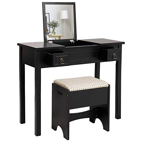Buy Cheap VASAGLE Vanity Set with Flip Top Mirror Makeup Dressing Table Writing Desk with 2 Drawers ...