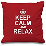 WHEYT Girls Boys Pillowcases Pillows Covers Cases Keep Calm And Relax Red Decoration 18 x 18-inch Cotton w322 Hotel,Cafe,Car