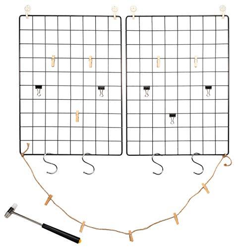 Nexos Fotowand 2er Set Gitter schwarz 42x31 cm Eisen mit Aufhängern DIY Pinnwand Notiztafel gridwall Dekogitter Drahtgitter individualisierbares memoboard