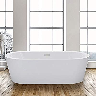 "WOODBRIDGE 67"" X 32"" Acrylic Freestanding Bathtub Contemporary Soaking Tub with Brushed Nickel Overflow and Drain, BTA1504, 67"" B-0002"