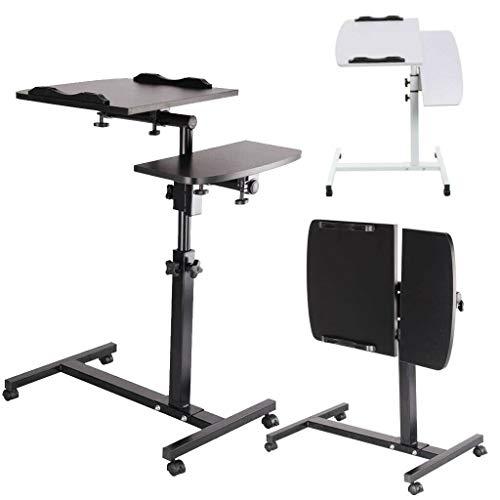 Mesa de camping plegable portátil, mesa de escritorio para ordenador portátil, soporte para lectura, ajuste de altura de 25 a 37 pulgadas, mesa para sobrecama (negro/blanco)