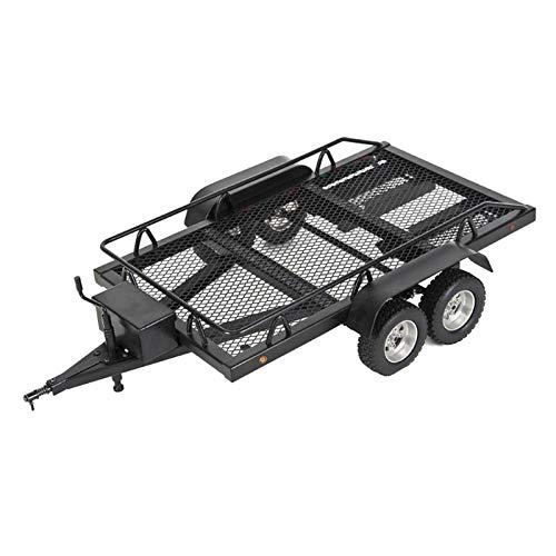 MYBOON 1/10 Remolque para Camiones de Servicio Pesado y Coches RC para Axial TRX4 SCX10 RC Crawler Truck Remolque de camión de Doble Eje Negro