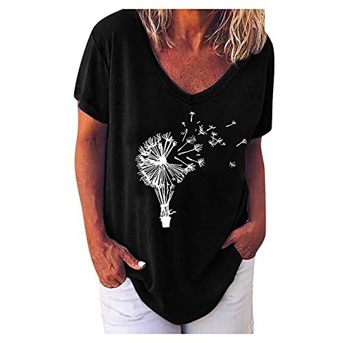 YinGTral Damen Sommer Tops Bluse Mode Casual Bequem Kurzarm T-Shirt Oberteile Frauen Print V-Ausschnitt Lose Kurzarm T-Shirt Top Bluse Pullover