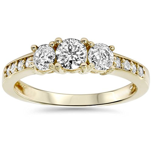 1ct 3 Stone Diamond Engagement Ring 14K Yellow Gold - Size 8