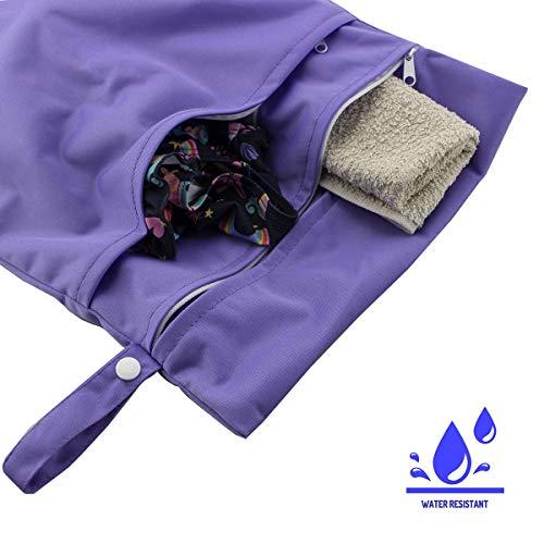 caseroxx luiertas/wetbag/luiertas met ritssluiting Premium 2-pocket strandtas voor baby's paars