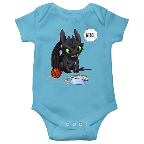 Okiwoki Body bébé manches courtes Garçon Bleu parodie Dragons - Krokmou - Un vrai dragon domestique... (Body bébé de qualité supérieure de taille 3 mois - imprimé en France)