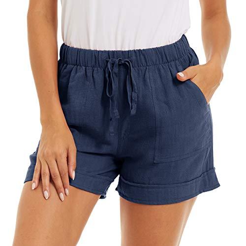 TACVASEN Women's Casual Elastic Waist Shorts Comfy Cotton Linen Summer Beach Shorts Navy, 2XL