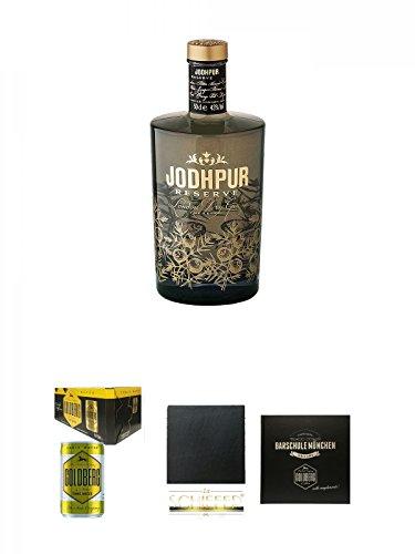 Jodhpur Reserve London Dry Gin England 0,5 Liter + Goldberg Tonic Water DOSE 8 x 0,15 Liter Karton + Schiefer Glasuntersetzer eckig ca. 9,5 cm Durchmesser + Barschule München Buch