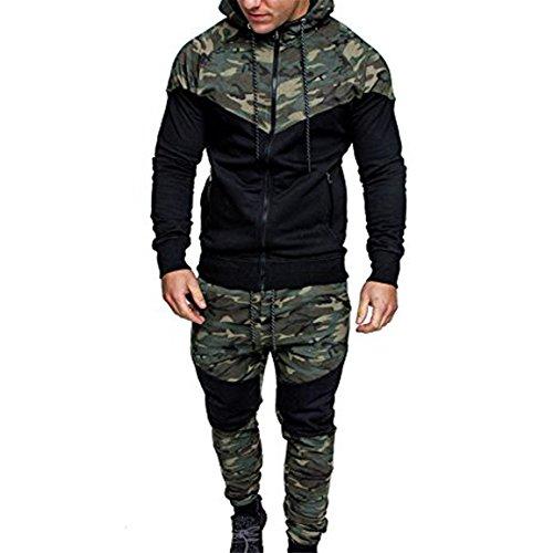 Männer Tarnung Pullover,Moonuy Männer Herbst Winter Camouflage Sweatshirt Top Hosen Sets Sport Anzug Trainingsanzug Charme Mit Kapuze Elastische Bluse (Bluse + Hose(B), EU 38 / Asien L)