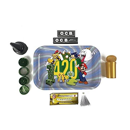 Kit para fumar - Bandeja de liar - Grinder metálico para especias - Cenicero de playa - Papel de liar - Bote hermético - Pack limitado