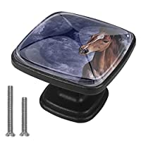 キッチンキャビネットノブ4個セット-プルノブ引き出しとドレッサーハンドル- ビンテージの馬